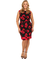 London Times - Plus Size Cap Sleeve Printed A-Line Dress