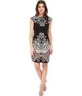 London Times - Cap Sleeve Placement Print Sheath Dress