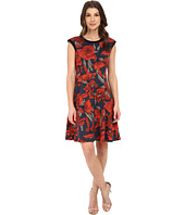 London Times - Banded Neck Printed Fit & Flare Dress