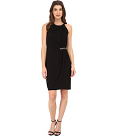 London Times - Halter Side Gather Waist Detail Sheath Dress