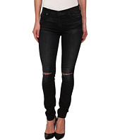 7 For All Mankind - The Skinny w/ Knee Holes in Icy Black 2