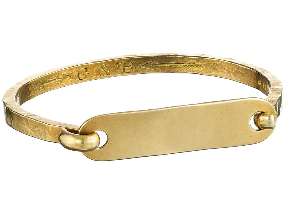 Giles amp Brother I.D. Tag with Hinge Cuff Bracelet Brass Oxide Bracelet