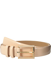 Calvin Klein - 25mm Feather Edge Patent Leather Belt with Harness Roller Buckle and Enamel Fill