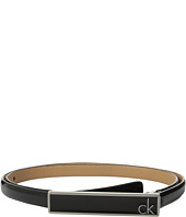 Calvin Klein - 16mm Feather Edge Patent Leather Belt with Plaque Buckle and Enamel Fill