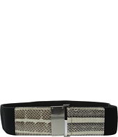 Calvin Klein - 63mm Flat Strap Genuine Snake and Stretch Belt
