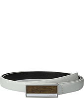 Calvin Klein - 20mm Feather Edge Semi Shine Leather Plaque Buckle with Inlay and Powder Coated Logo Belt