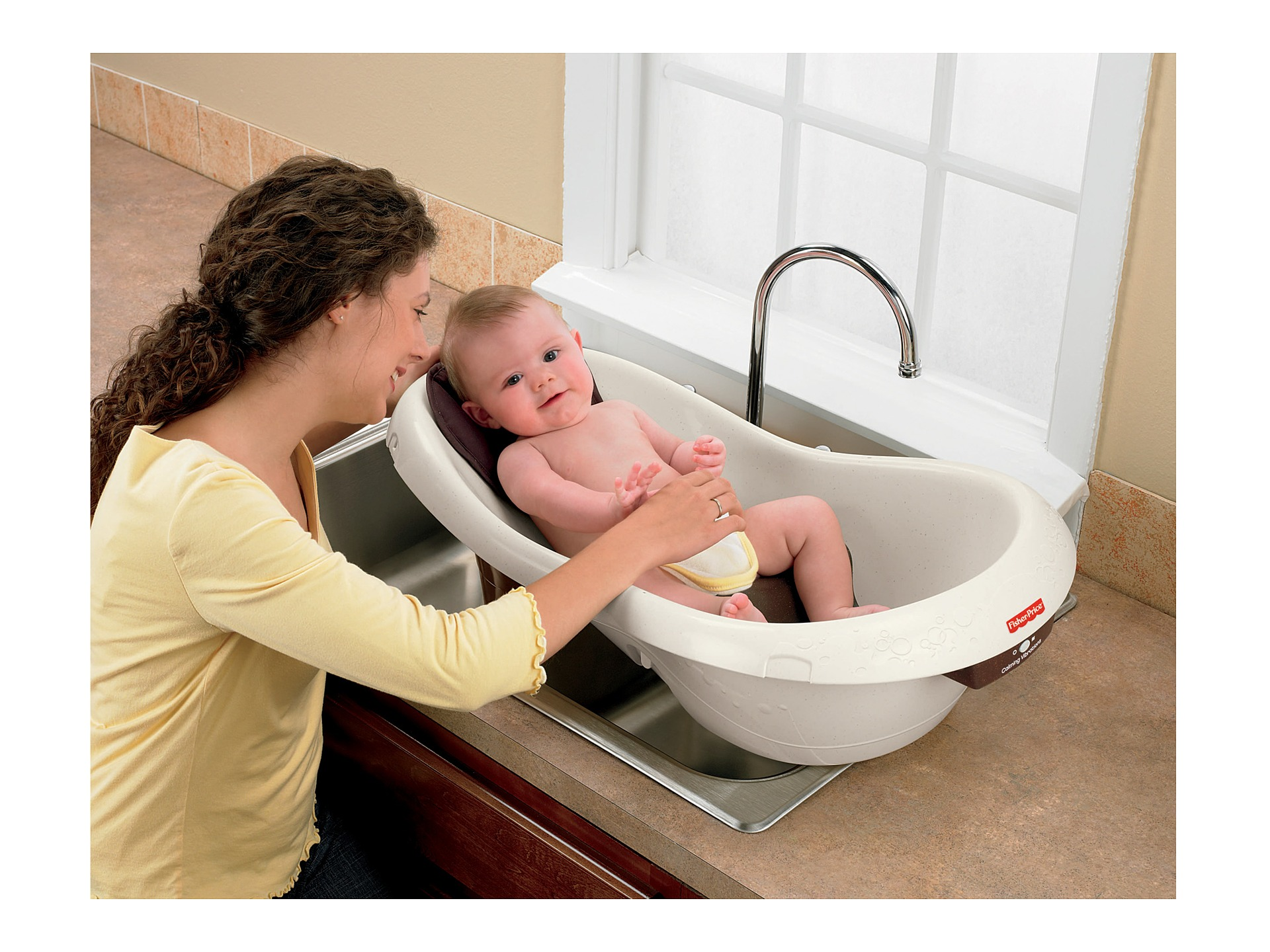fisher price calming waters vibration tub tan free shipping both ways. Black Bedroom Furniture Sets. Home Design Ideas