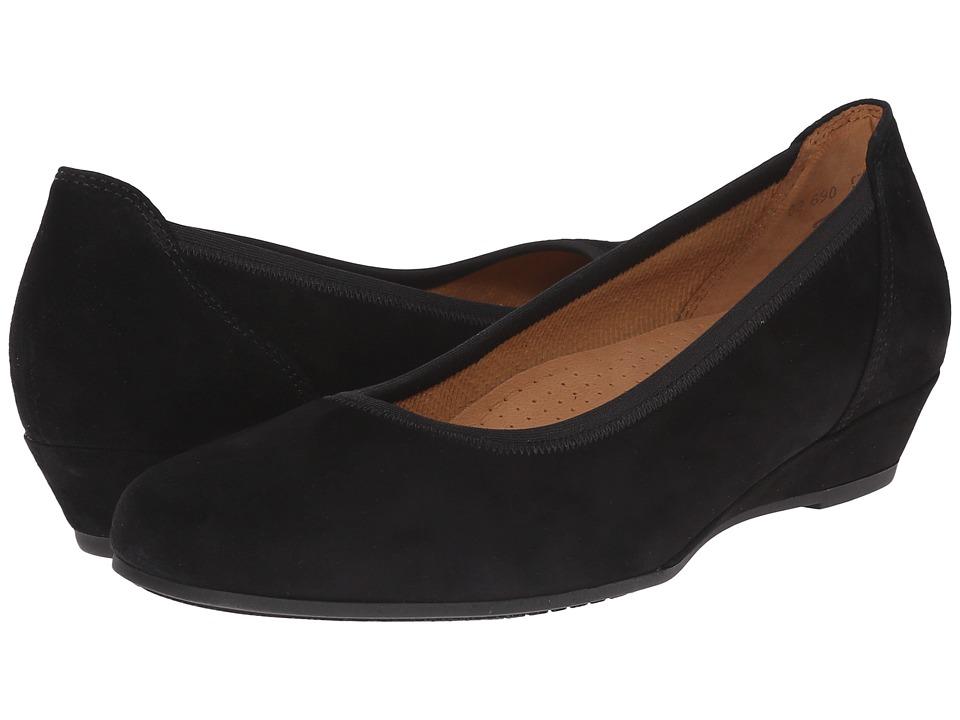 Gabor Gabor 02.690 Black Samtchevreau Womens Wedge Shoes