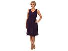 Donna Morgan Plus Size Jessie Short Bra Friendly Chiffon Dress (Amethyst)