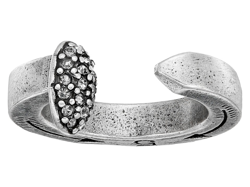 Giles amp Brother Railroad Spike Ring w/ Pave Silver Oxide Finished Brass/Crystal Ring