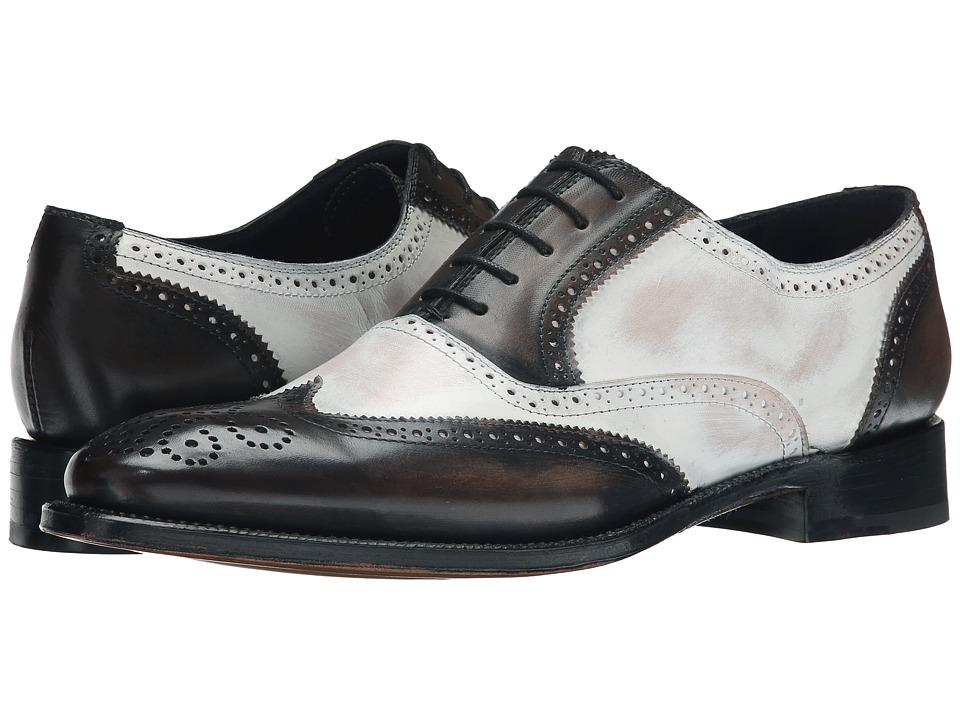 Messico - Vito Welt GreyWhite Leather Mens Flat Shoes $145.00 AT vintagedancer.com