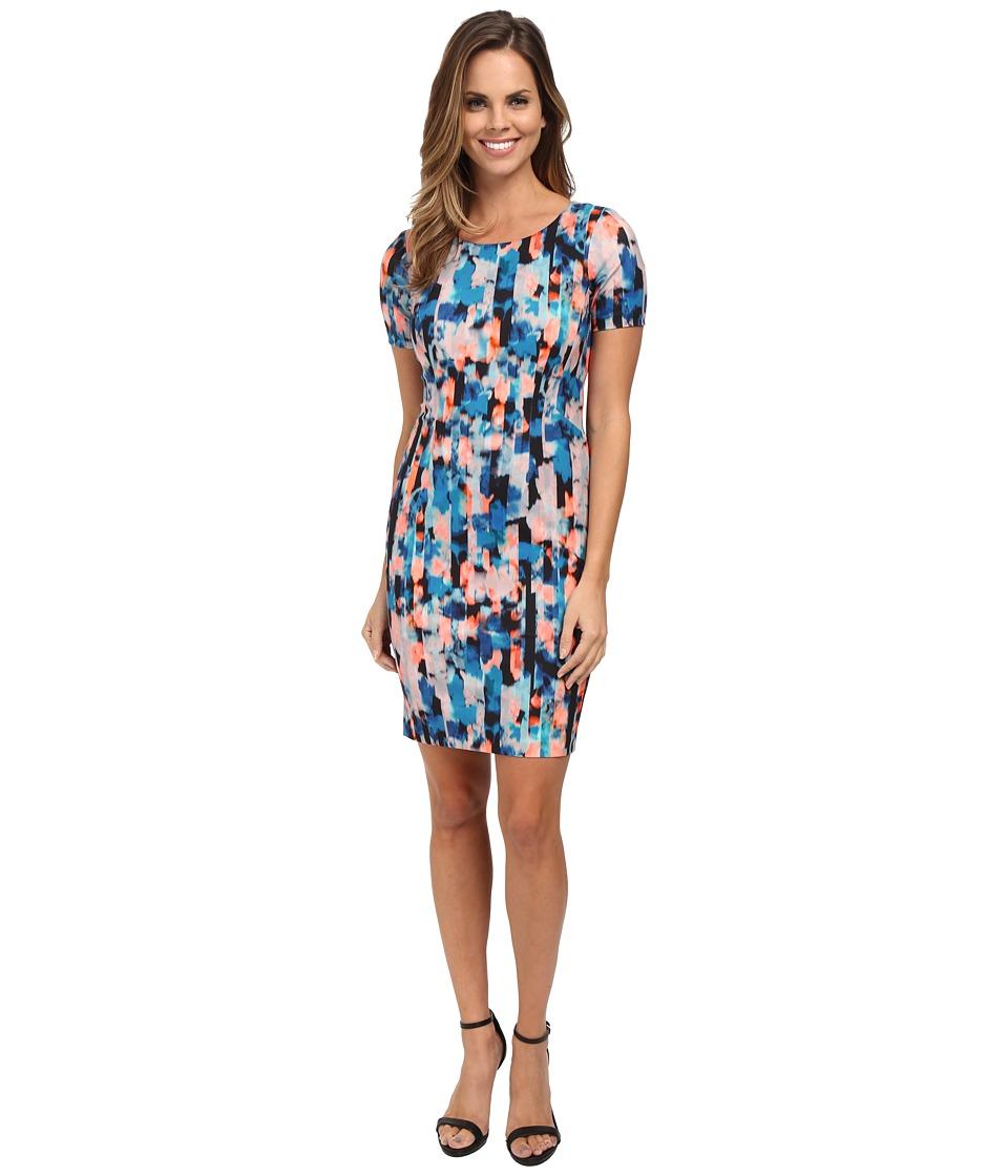 NYDJ Abby Vivid Pillar Shift Dress Vintage Teal Womens Dress