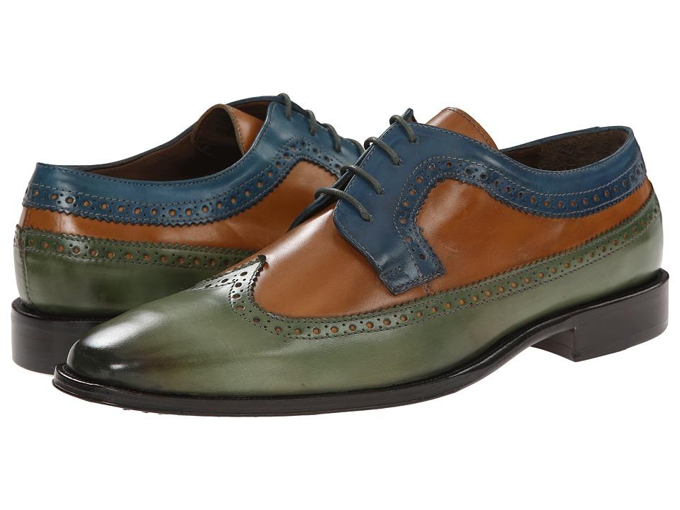 Messico Chamarel Green/Honey/Blue Mens Dress Flat Shoes