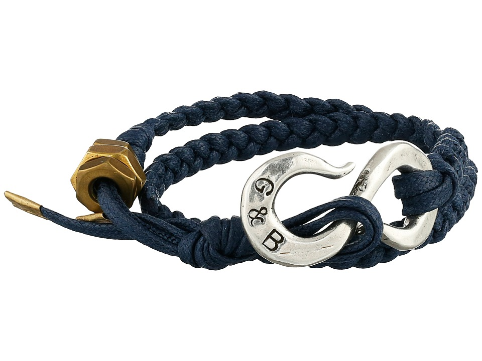 Giles amp Brother Braided S Hook Bracelet Navy Blue/Silver Oxide Bracelet