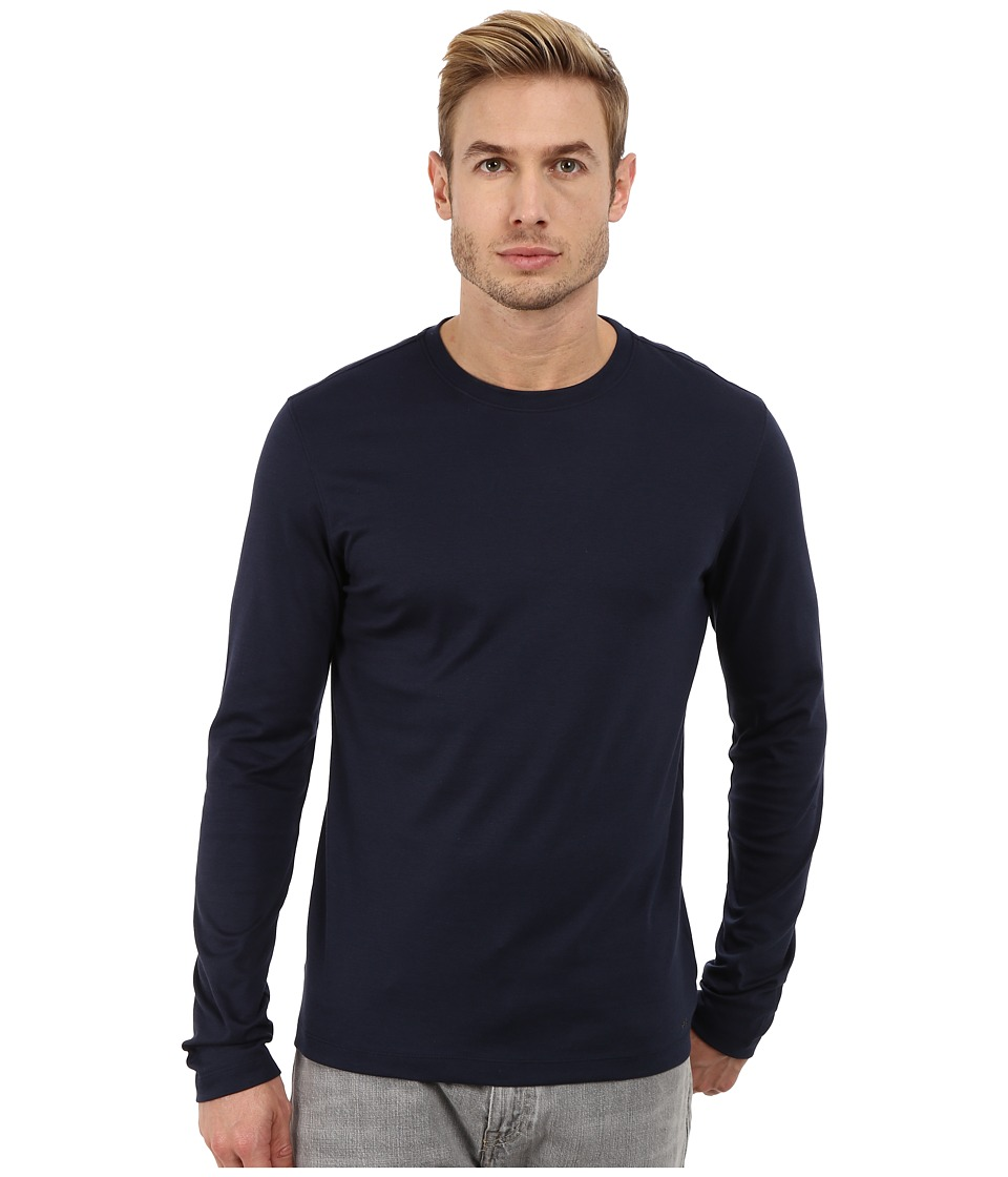 Michael Kors - Long Sleeve Micro Stripe Crew (Midnight) Men's Long Sleeve Pullover