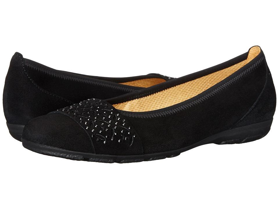Gabor Gabor 34.164 Black Samtchevreau Womens Flat Shoes