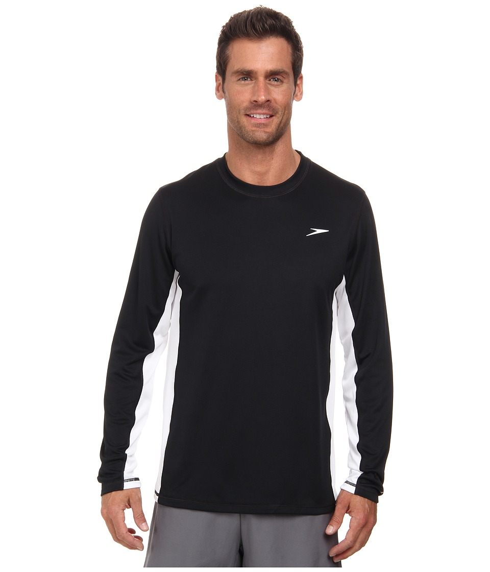 Speedo Longview Long Sleeve Swim Tee Black Mens Swimwear