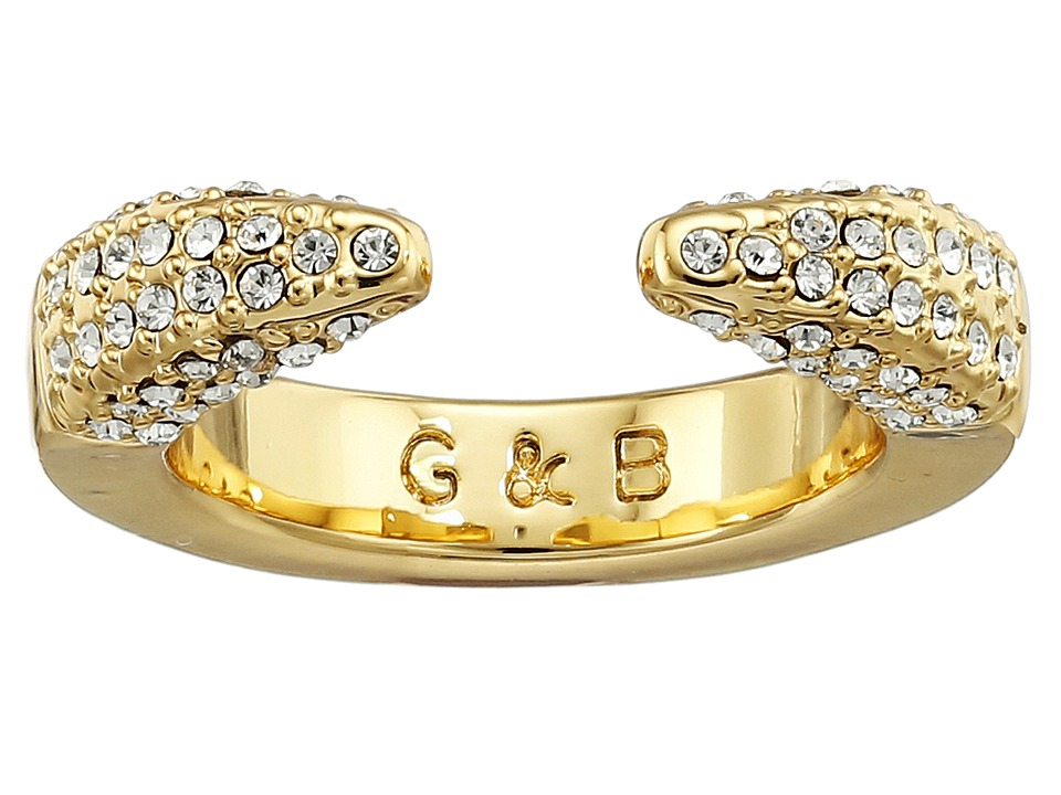 Giles amp Brother Double Spike Ring Gold Finished Brass/Crystal Pave Ring