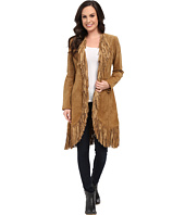 Scully - Helena Long Soft Suede Fringe Leopard Lining Coat