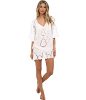 Vix - Solid White Embroidery V-Neck Caftan Cover-Up