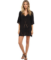 Vix - Solid Black Embroidery V-Neck Caftan Cover-Up