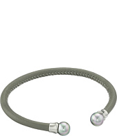 Majorica - Grey Leather Pearl Bangle