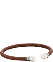 Majorica - Brown Leather Pearl Bangle