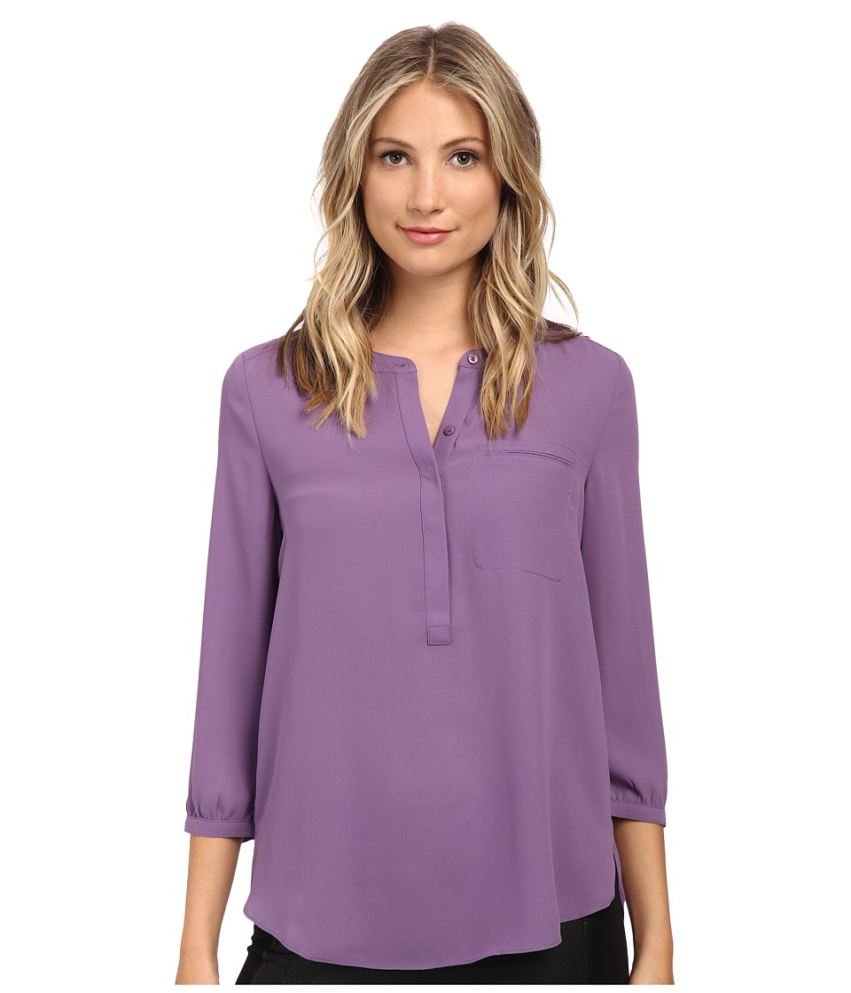 NYDJ 3/4 Sleeve Pleat Back Nordic Lavender Womens Blouse