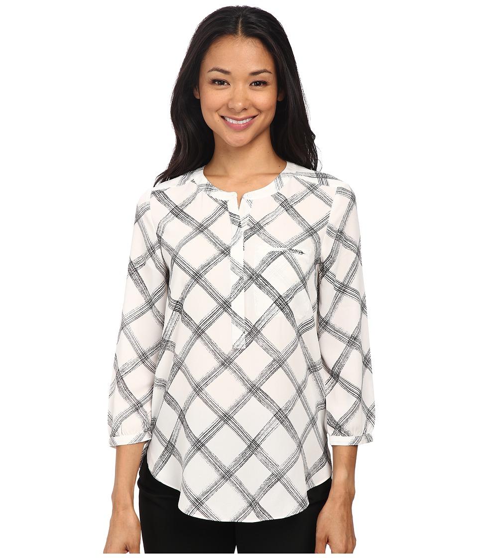 NYDJ 3/4 Sleeve Pleat Back White Sketch Windowpane Womens Blouse