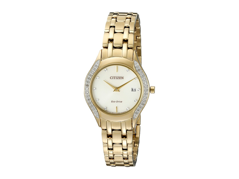 Citizen Watches - GA1062-51P Eco-Drive Dress Diamond (Gold Tone Stainless Steel) Watches