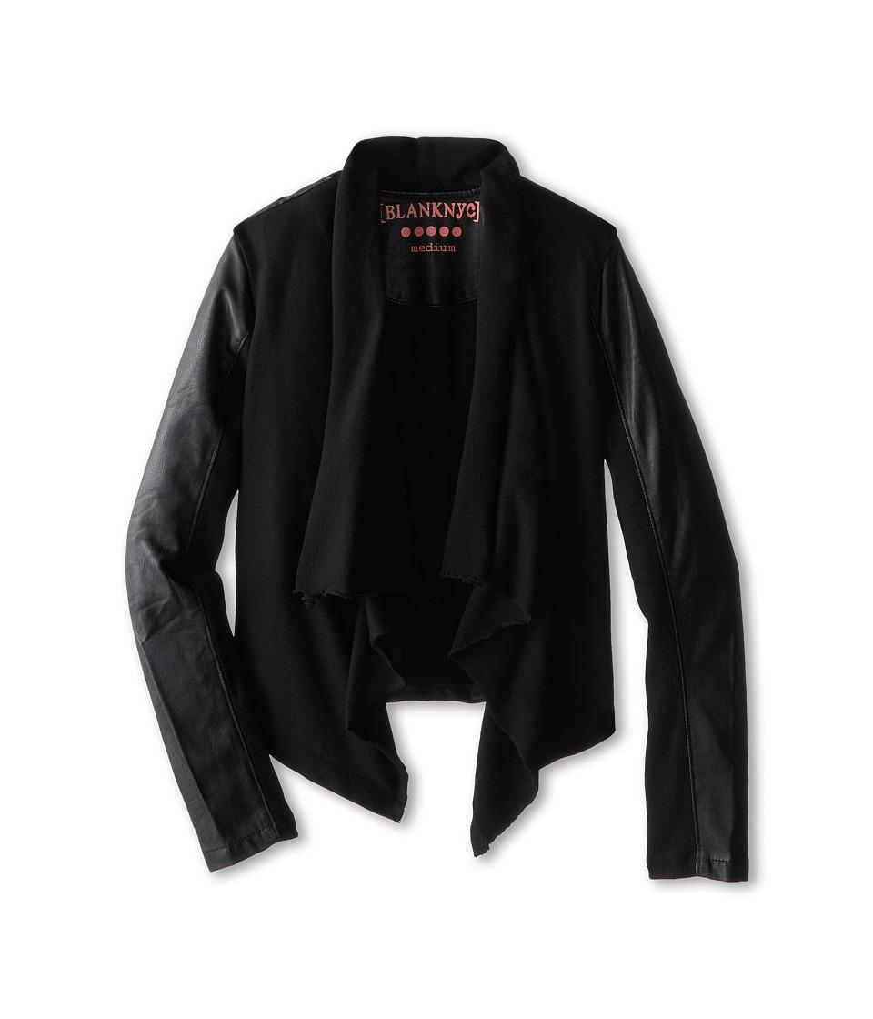 Blank NYC Kids Drape Jacket w/ Vegan Leather Sleeves Big Kids Private Practice Girls Coat