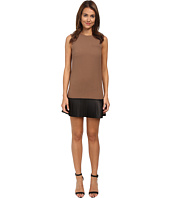 Vera Wang - Sleeveless Shift Dress w/ Black Nappa Leather Pleated