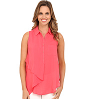 Mod-o-doc - Washed Rayon Voile Sleeveless Asymmetrical Hem Blouse