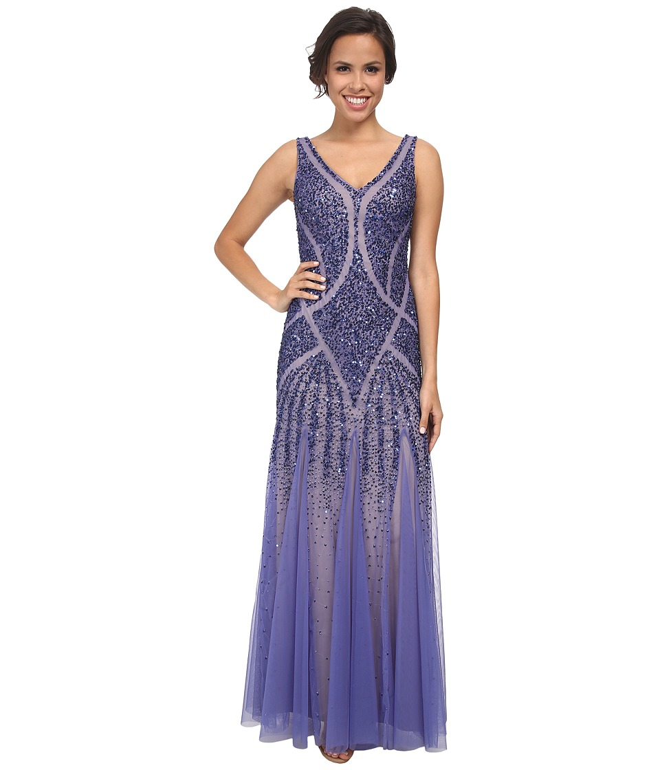 Adrianna Papell - Beaded V-Neck Mermaid Gown Deep Violet Womens Dress $340.00 AT vintagedancer.com