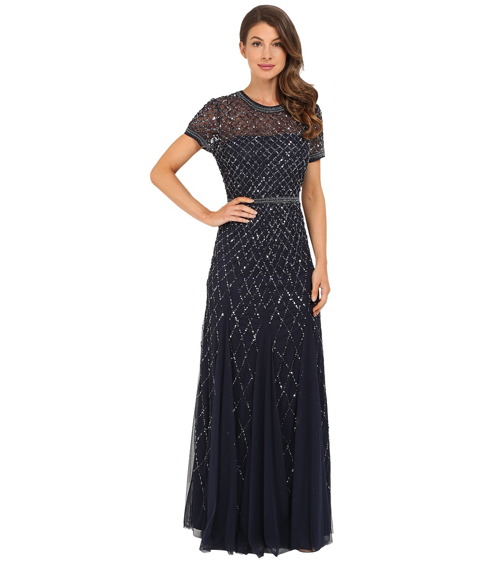 Adrianna Papell Cap Sleeve Fully Beaded Gown (Navy) Women