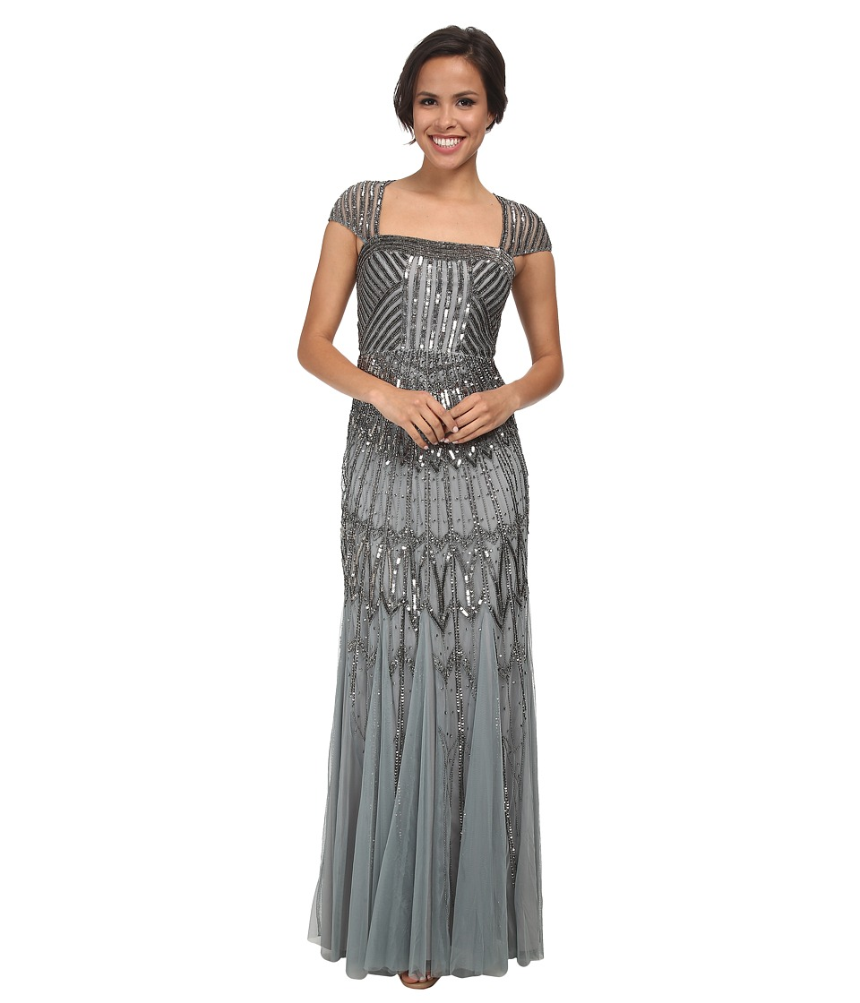 Adrianna Papell - Long Beaded Dress Slate Womens Dress $340.00 AT vintagedancer.com