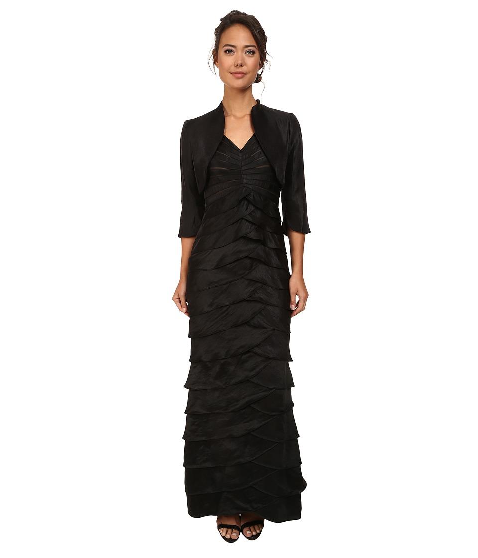 Adrianna Papell - Shutter Pleat Dress w Jacket Black Womens Dress $280.00 AT vintagedancer.com