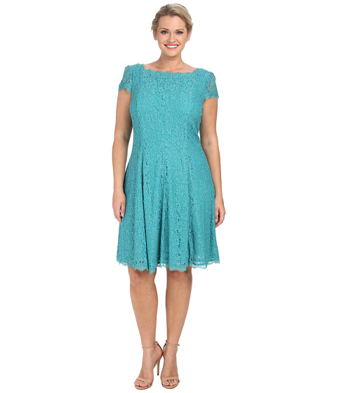 Adrianna Papell - Plus Size Lace Cap Sleeve Fit and Flare (Jade) Women's Clothing