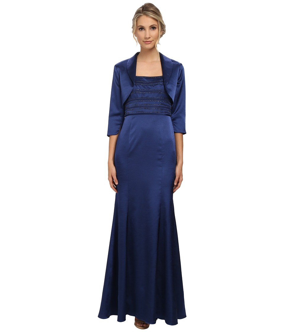 Adrianna Papell - Bead Shantung Gown with Jacket Navy Womens Dress $279.00 AT vintagedancer.com