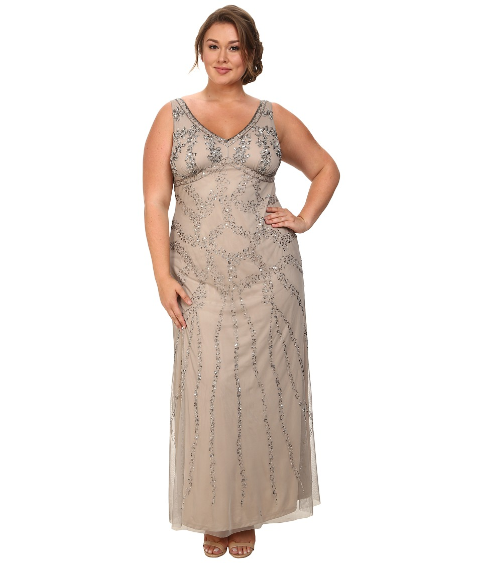 Adrianna Papell - Plus Size Sleeveless Beaded Gown Platinum Womens Dress $219.00 AT vintagedancer.com