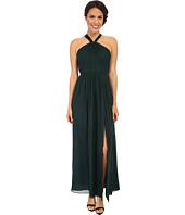 JILL JILL STUART - Halter Neck Keyhole Silk Chiffon Gown