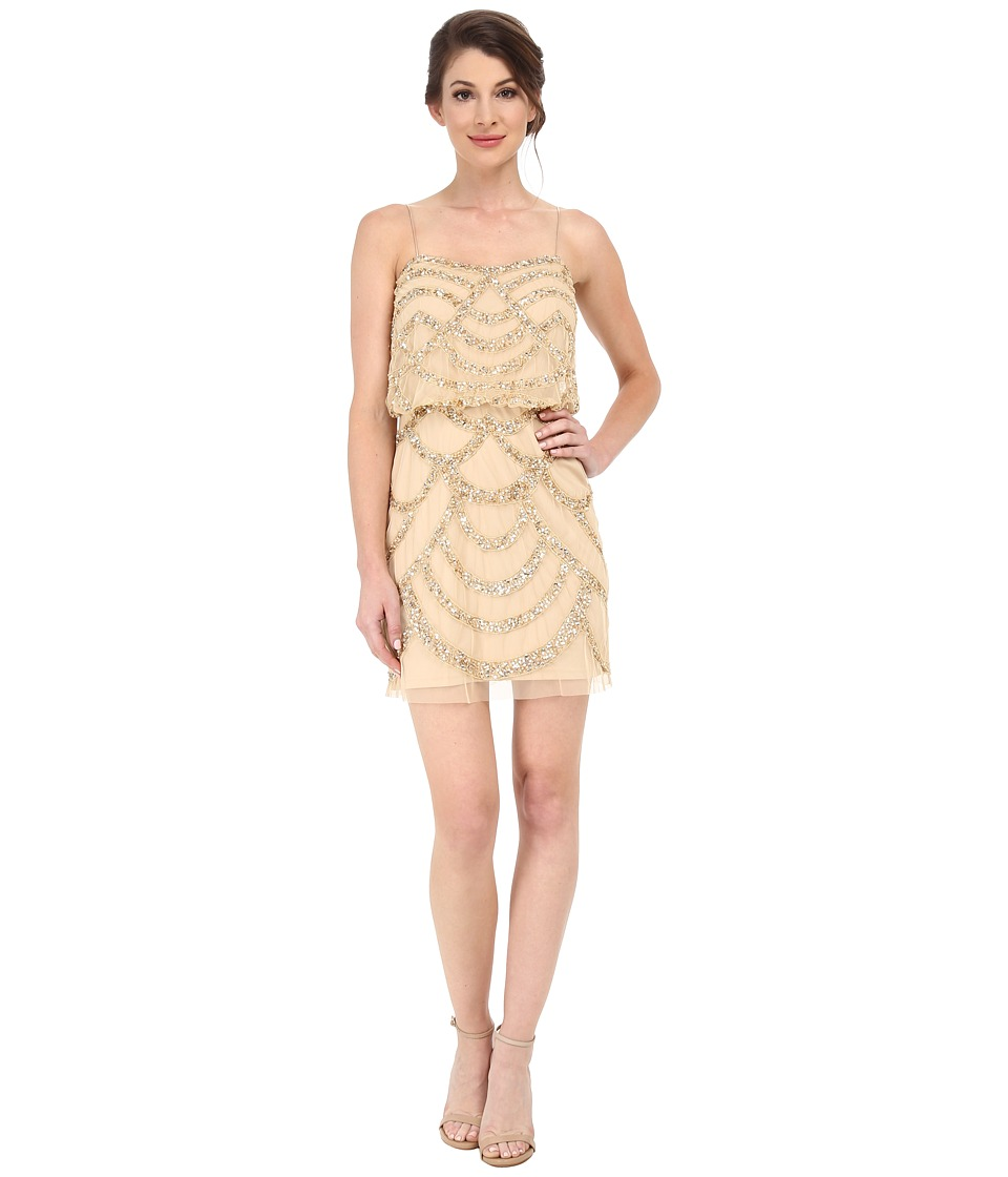 Aidan Mattox Beaded Blousson Slip Dress Light Gold Womens Dress