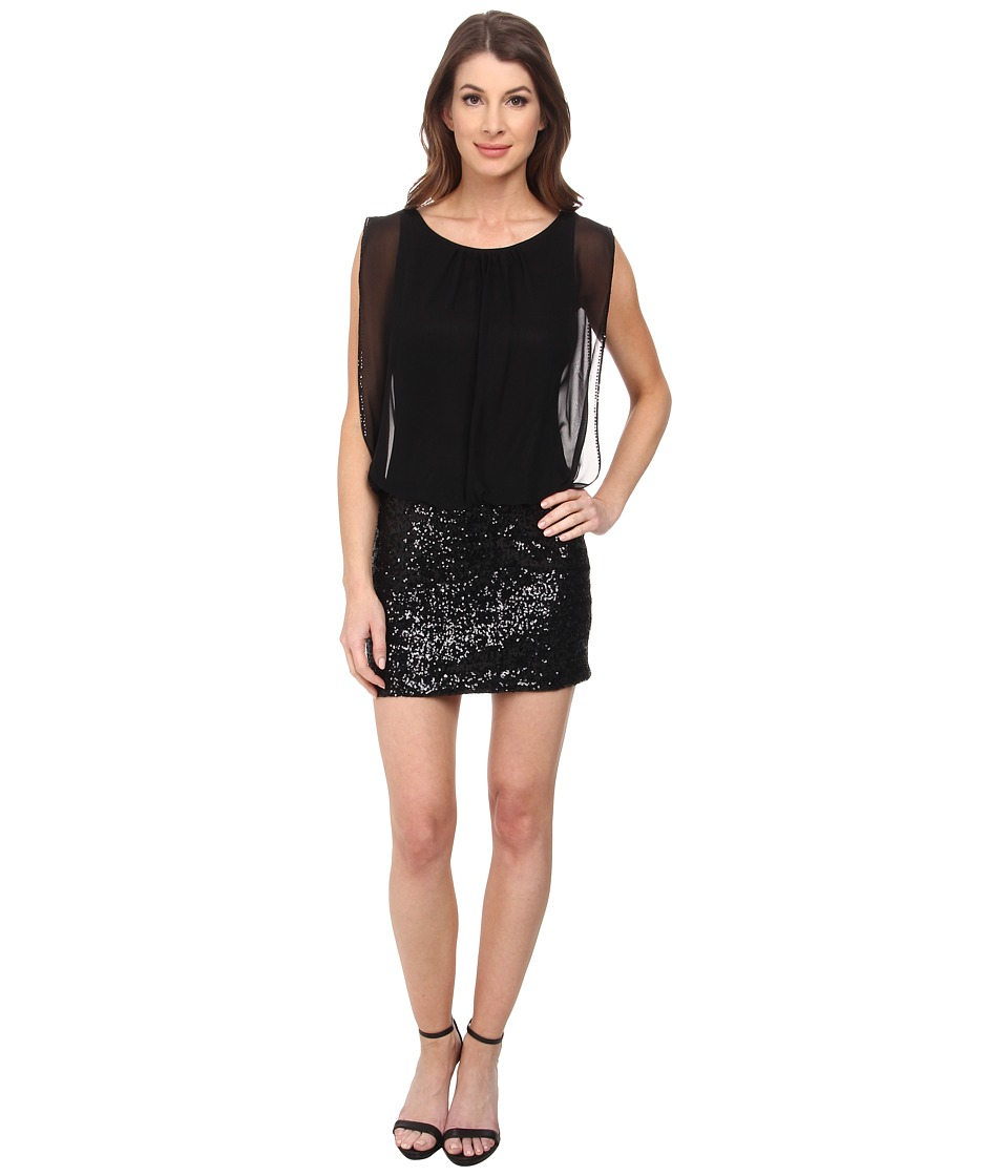 Aidan Mattox Sequin Skirt Blousson Dress Black Womens Dress