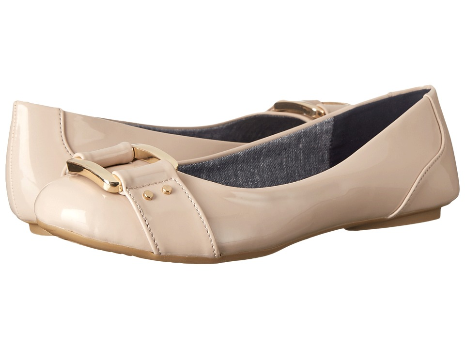 Dr. Scholls Frankie Taupe Patent Womens Flat Shoes