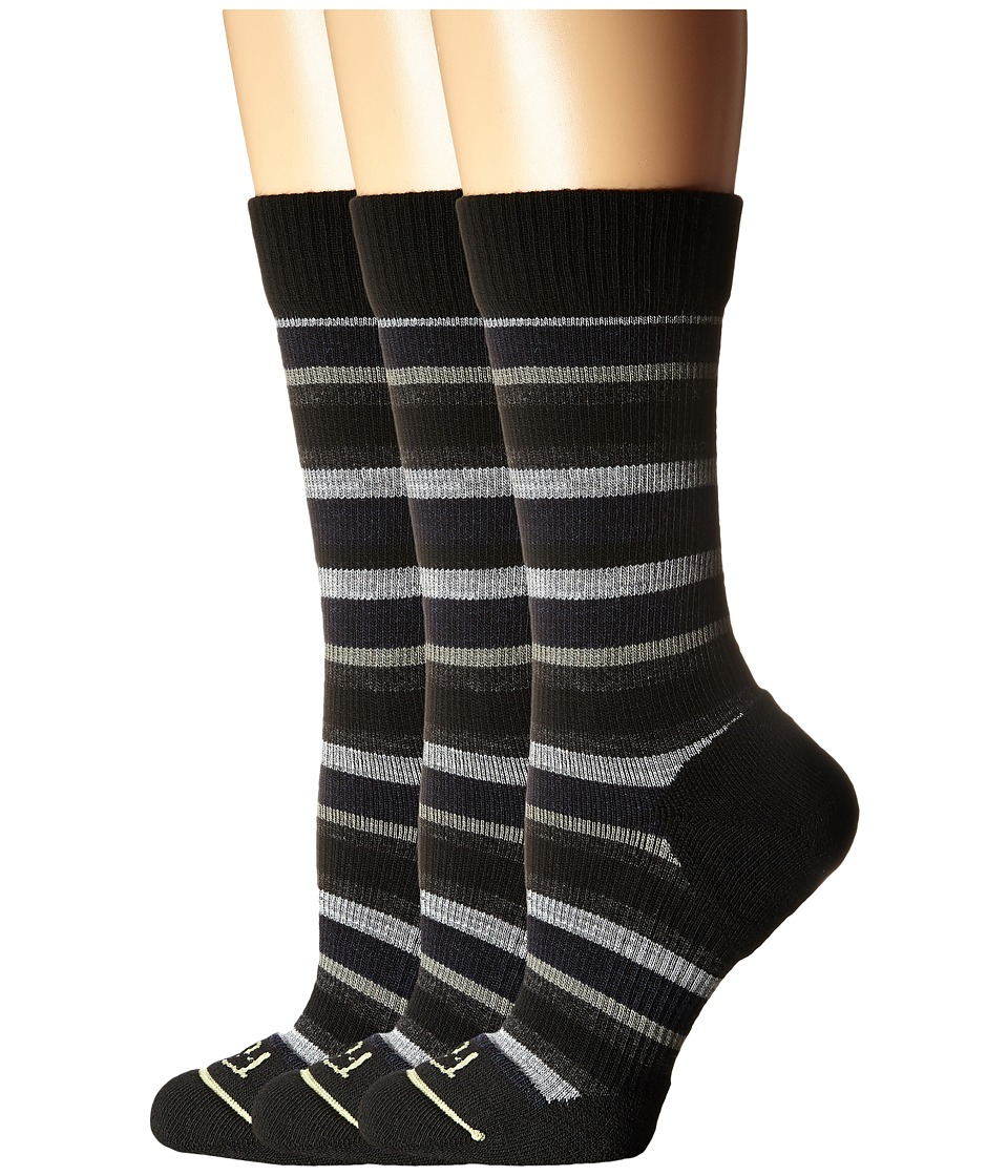 Fits Casual Crew 3 Pair Pack Med Stripe Black/Pewter Womens Crew Cut Socks Shoes