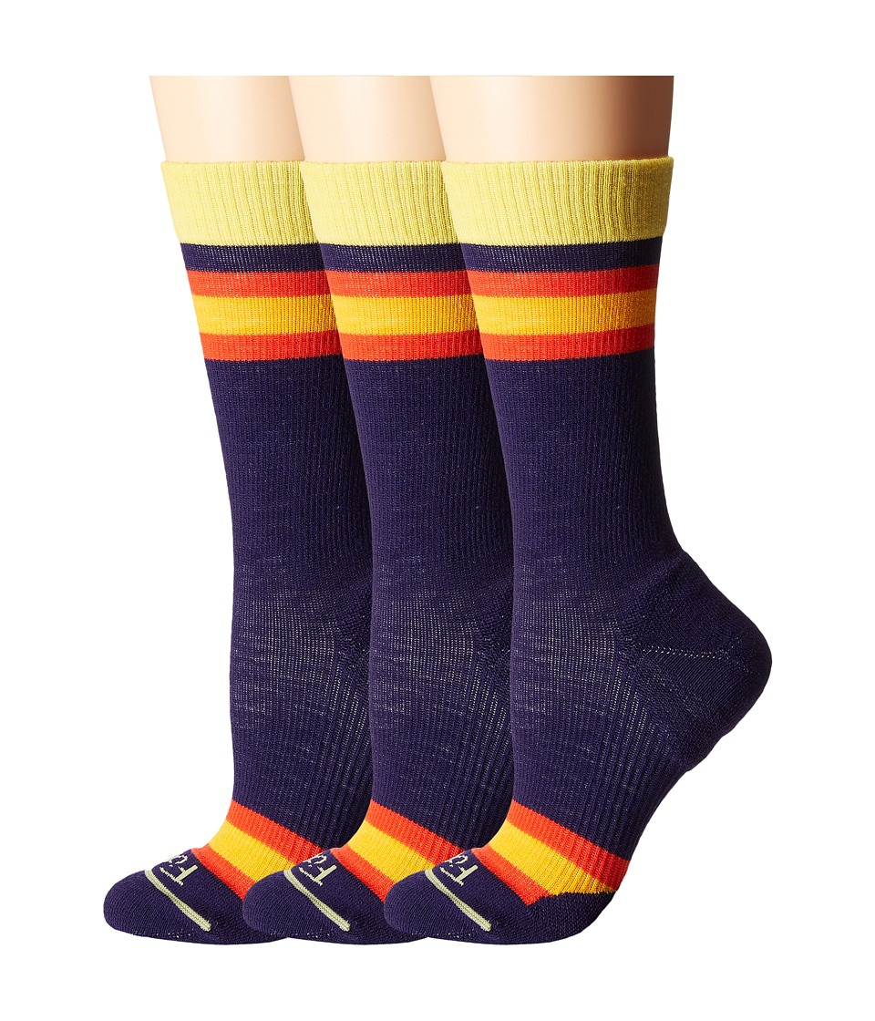 Fits Casual Crew 3 Pair Pack Eggplant Rugby Womens Crew Cut Socks Shoes
