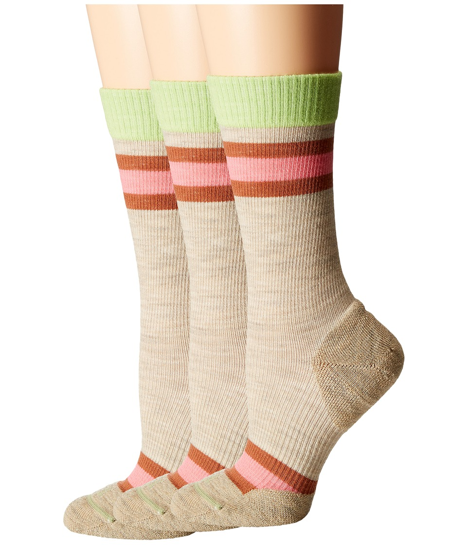 Fits Casual Crew 3 Pair Pack Oatmeal Rugby Womens Crew Cut Socks Shoes