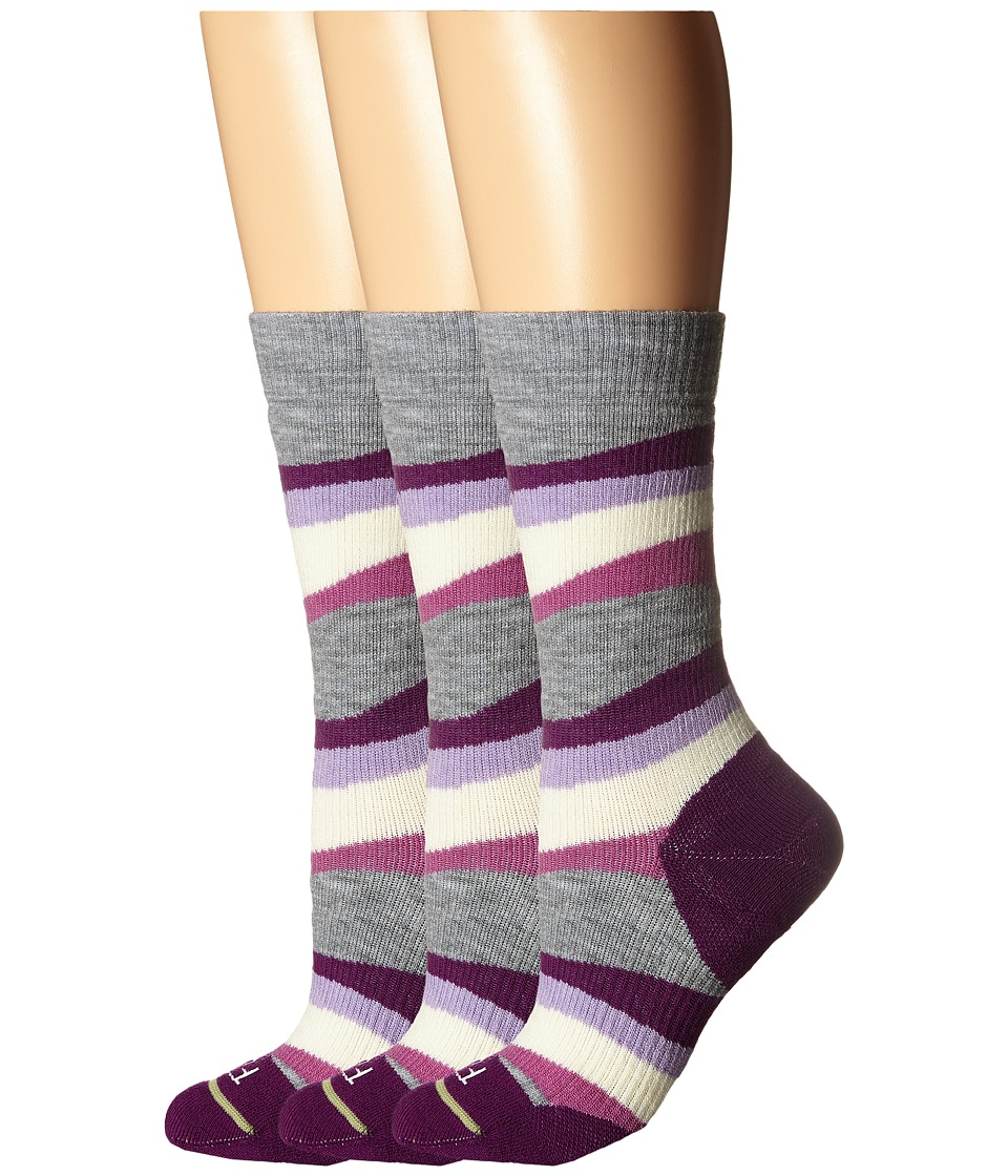 Fits Medium Hiker Crew 3 Pack Purple Passion Womens Crew Cut Socks Shoes