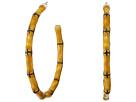 Kenneth Jay Lane Large Bamboo Hoop Pierced Earrings