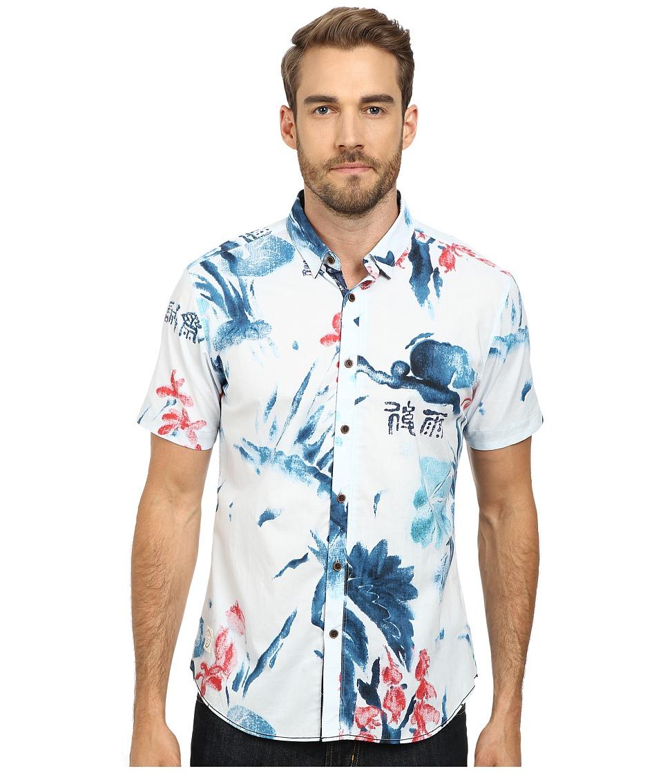 7 Diamonds Blue Hawaii Top Blue Mens Short Sleeve Button Up